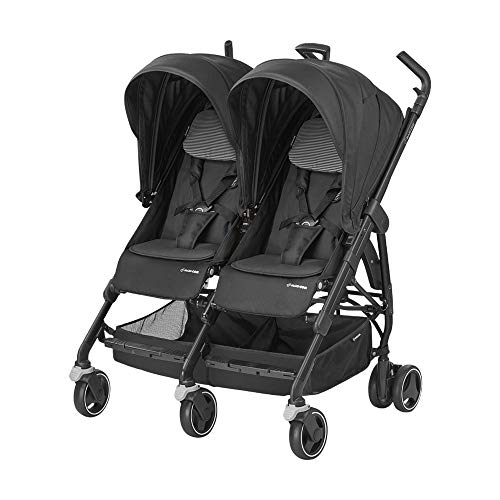 Maxi-Cosi Dana für 2 - kompakter Geschwisterwagen und Zwillingskinderwagen, Zwillingsbuggy, black raven
