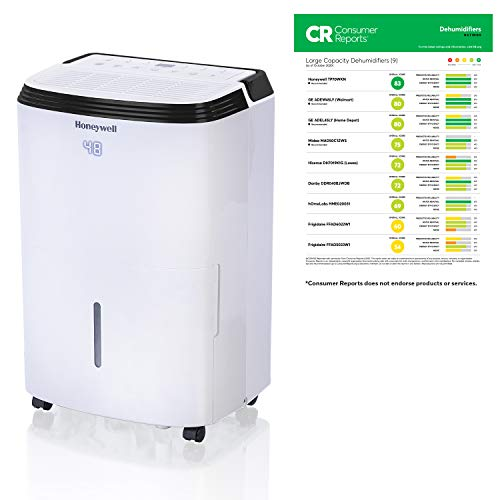 Honeywell TP70WK 70 Pint Energy Star Dehumidifier for Basement & Large Room Up to 4000 Sq Ft. with Anti-Spill Design, White, 50