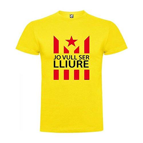 Camiseta Catalunya Jo Vull Ser LLiure Manga Corta Hombre Amarillo S