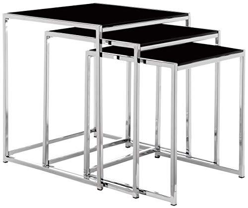 AC Design Furniture Satz mit Tischen Gurli, B: 50 x T:50 x H: 55 cm, Glas, Schwarz