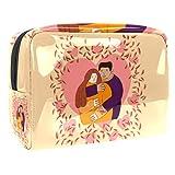 Bolsa de maquillaje portátil con cremallera bolsa de aseo de viaje para las mujeres práctico almacenamiento cosmético bolsa pareja en amor