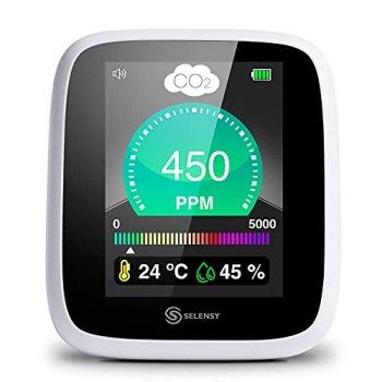 SELENSY Testeur de CO2 portable en temps réel - 400-5000 PPM - Testeur de qualité de l'air intérieur - Testeur d'humidité et de température - Capteur NDIR - Batterie Lithium - Chargeur inclus