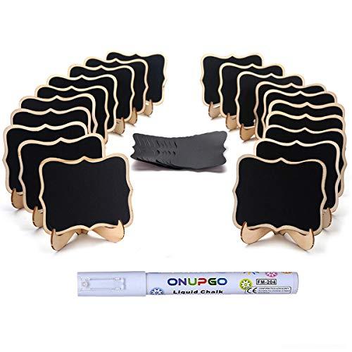 ONUPGO - Confezione da 20 mini lavagnette in legno con cavalletto di supporto, segnaposto, lavagne,...