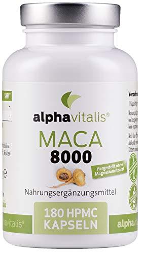Alphavitalis Maca 8000 Gold vegan - 180 Kapseln 20:1 Maca Wurzel Extrakt - deutsche Herstellung - laborgeprüft - ohne Magnesiumstearat - hochdosiert - 8000mg Pulver pro Kapsel in Premiumqualität