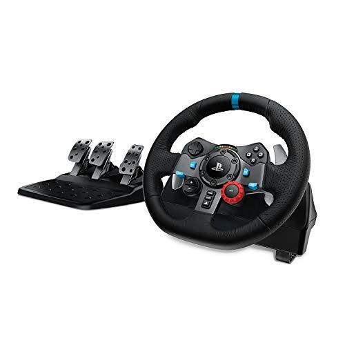 Logitech G29 Driving Force Volant de Course avec Pédales, Retour de Force Réaliste, Palettes au Volant en Acier Inoxydable, Volant en Cuir, Rotation du Volant à 900°, Prise UK, PS4/PS3/PC/Mac - Noir