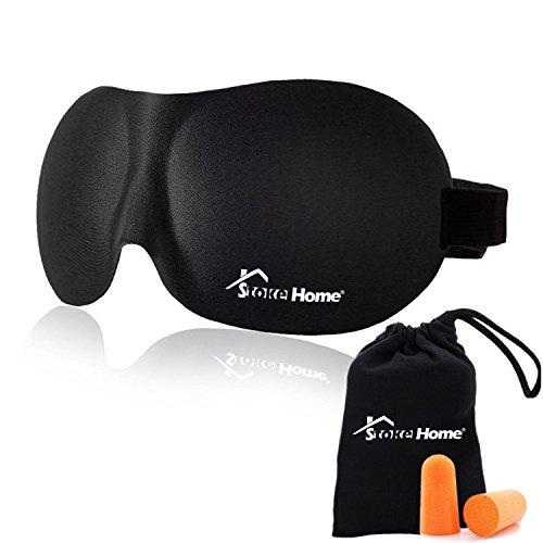 ⭐️ Máscara Para Dormir 3D Stoke Home | Tapa Olho Para Dormir 3D para Homens, Mulheres e Crianças | Venda Ultra Macia e Suave em Espuma Viscoelástica com Faixas Ajustáveis Que Não Puxam os Cabelos | Tampões de Ouvido e Bolsa de Transporte Incluídos