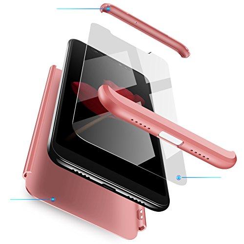 Funda Motorola Moto G5s Plus Oro Rosa,Case Ultra Fina Carcasa 360°Complete Package Protectora Caja Anti-Dactilares PC Hard Cover Bumper Skin cojín Compatible Motorola 3D 9H Vidrio Templado