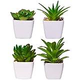 4pcs Plante Artificielles Interieur Petite Plante Artificielles Succulentes en Plastique avec Pot en Céramique Fausses Plantes Vertes Décoration