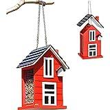 Vogelfutterhaus in Rot zum aufhängen 12,5 x 11,5 x 21,5 cm - Inkl. Hänger - Abnehmbares Dach - Beidseitige Futtergitter - Sehr schöne Optik - Ideal für Garten, Terrasse & Bäume