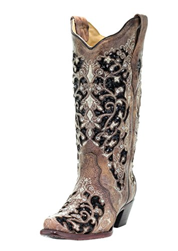 Corral Women's Black Inlay Floral Embroidery Studs Leather Cowgirl Boots – Brown …