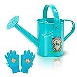 Hortem Kinder-Gießkanne, Metall-Gießkanne für Kinder mit Rostschutz-Pulverbeschichtung und niedlichem Kinder-Gartenhandschuh (1,5 l, blau)