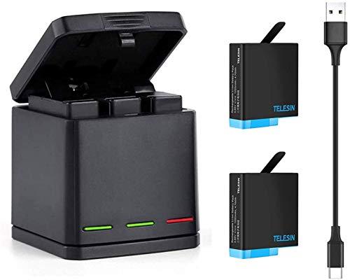 TELESIN GoPro Hero 7black/Hero 6/Hero 5/gopro hero用収納ボックス式 3ポートUSB充電器+2 交換バッテリー...