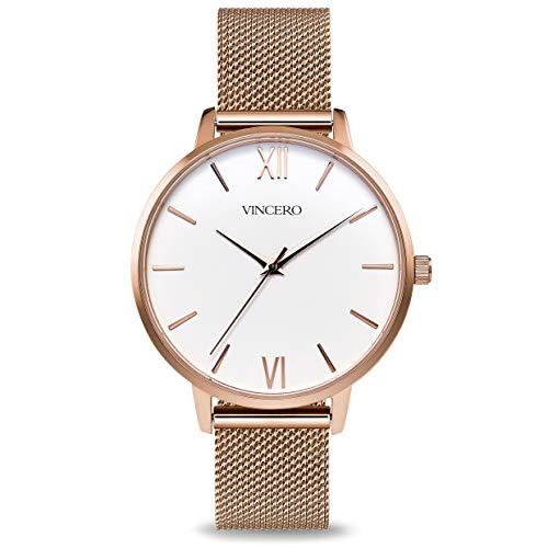 Vincero Luxury Women's Eros Wrist Watch with a Steel Mesh Watch Band - 38mm Analog Watch - Japanese Quartz Movement (Rose + White)