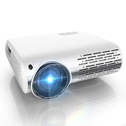Vidéoprojecteur, YABER 7000 Lumens Video Projecteur Full HD 1920 x 1080P Retroprojecteur avec Réglage Trapézoïdal 4D et Fonction de Zoom, Soutien 4K et Son HiFi, Projecteur LED pour Home Cinéma
