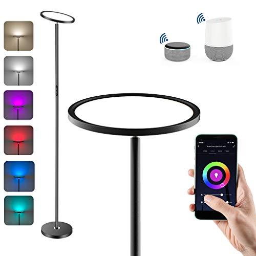 Anten LED Deckenfluter Intelligente Stehlampe 25W mit RGB, Farbtemperaturen und Helligkeit Stufenlos Dimmbar Stehleuchte, Kompatibel mit Alexa und Google Assistant für Wohnzimmer, Schlafzimmer, Büro