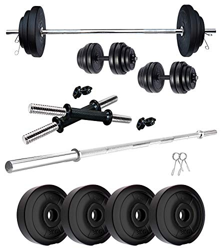 B Town 10 KG Home Gym Combo of PVC Dumbbell Plate Set with 3 Ft Straight Rod (Weight 2.5 kg X 4= 10 kg)