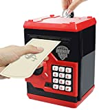 HUSAN Great Gift Toy for Children Kids Code Electronic Piggy Banks Mini ATM Electronic Coin Bank Coin Box for Children Fun Toy, Red