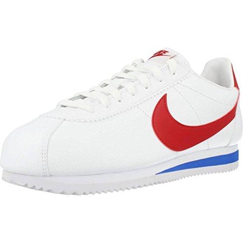 Nike Classic Cortez Leather, Zapatillas de Deporte Hombre, Varios Colores (White / Varsity Red Varsity Roya), 43 EU