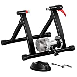 YAHEETECH Fluid Bike Trainer Stand, Indoor Bicycle Training Stand for Mountain & Road Bike, Portable Foldable Cycling Training Stand w/Fluid Flywheel,Quick-Release,Riser Block & Noise Reduction