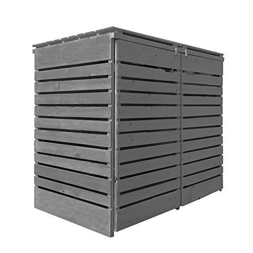 Mülltonnenbox Mülltonnenverkleidung Holz 120 L - 240 L hell-grau inkl. Rückwand vorimrägniert vormontiert Müllcontainer Mülltonnenschrank Mülltonne Mülltonnenabtrennung Modell A (für 2 Tonnen)