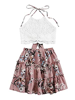 Would be a little see through, pair with a underlying would be better Lace Top: Sleeveless and halter neckline design made you look stylish. Fabric has no stretch, but breathable and cool makes you more comfortable Floral Skirt: elastic waist, flared...