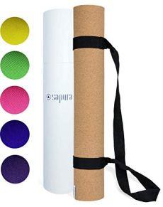 SAPURA Yogamatte Naturkautschuk Kork 3mm ✓ rutschfest ✓ Nachhaltig ✓ Sportmatte ✓ Fitnessmatte ✓ Tragegurt