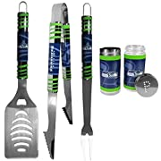 Officially licensed NFL product 420 grade stainless Steel BBQ set for outdoor events Grill set includes: spatula with bottle opener and serrated edge, fork and tongs. Each measure 16 inches long 2 Glass Shakers with screw top lids that feature a P an...