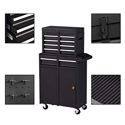 Product Image 4: Compact Tool Box Chest Combo 5 Drawer Mechanic Tool Box Small Heavy Duty Rolling Tool Chest on Wheels Tool Cabinet Organizer with Lockable Drawers Tool Chest Black