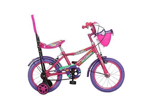 Outdoor Bikes 14 Inches Bicycle for Kids 3 to 5 Years (Assembly Required by Customer, Assembly Instruction Manual & Tool Provided) (Pink Purple)