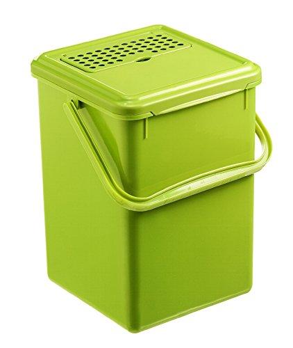 Rotho Bio Komposteimer 9 l mit Aktivkohlefilter, Kunststoff (PP), Hellgrün, 9 Liter (23 x 22,5 x 27,5 cm)