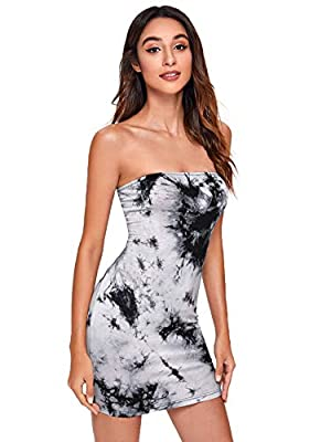 Bodycon Tube Dress. Soft fabric has some stretch Sleeveless, Tie Dye Pattern, Backless, Above Knee Length Perfect for going out, dating, club, night out, bar, party and casual dailywear Model Measurements: Height: 68.9 inch, Bust: 35.4 inch, Waist: 2...