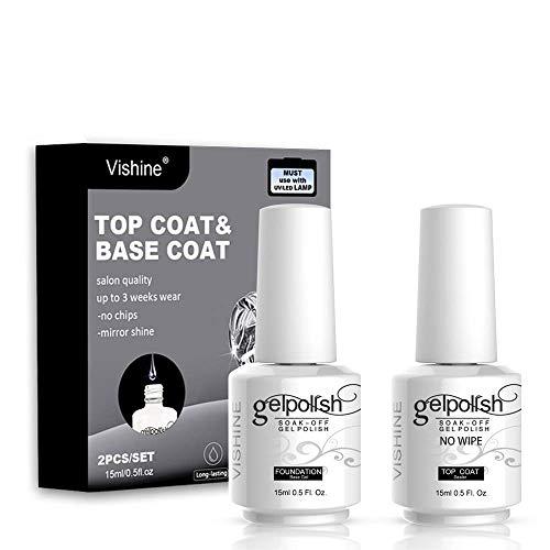 Vishine Long Lasting Soak Off Nail Polish Base + Top Coat Set Gel 15ml