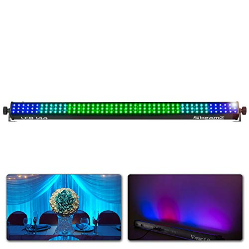 Beamz LCB144 LED Color Bar - 144 SMD LEDs in 8 Segmenten, DMX- oder Standalone-Modus, Stromverbrauch: 25 Watt, vorprogrammierte Programme, 3, 5, 6, 12, 24 oder 48 DMX-Kanäle, Aluminiumgehäuse