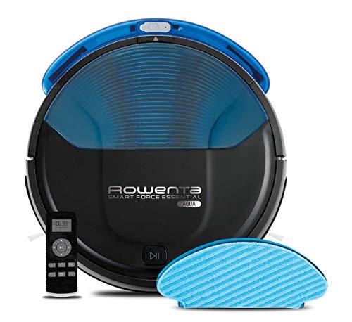 Rowenta RR6971 Smart Force Essential Aqua, Robot Aspirapolvere con Funzione Lavapavimenti, Aspira e Lava allo Stesso Tempo, Autonomia fino a 150 Minuti, Nero/Blu Scuro