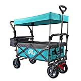 TMZ Utility Folding Wagon with Canopy, Collapsible Garden Cart, Folding Trolley Cart, for Shopping, Camping, and Outdoor Activities with Canopy and Push Handle (Turquoise/Grey)