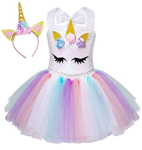 AmzBarley Unicornio Vestidos Princesa Niña Fiesta de Tul Tutu con Encaje de Flor sin Mangas,Disfraz Halloween Princesa con Argolla de Pelo Boda (4-5 Años, Blanco 6)