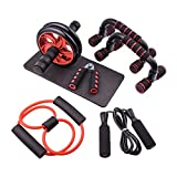 DV Dolce Vita 6-in-1 AB-Wheel Roller Set with Push-Up Bar Hand Gripper Jump Rope with Knee Pad for Home Gym Workout Equipment