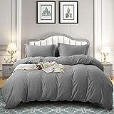 TEKAMON All Season 3 Piece Duvet Cover Set, Ultra Soft Breathable 100% Brushed Microfiber Premium Bedding -1 Comforter Cover with Zipper Closure+2 Pillow Shams (Queen, Grey)