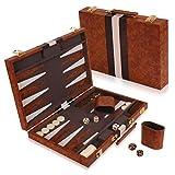 Kangaroo's 14.75' Faux Leather Vinyl Backgammon Set; Favorite Board Game; Best in Classic Board Games