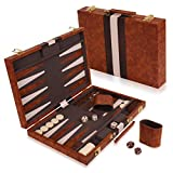 Kangaroo's 14.75' Faux Leather Vinyl Backgammon Set; Favorite Board Game; Best in Classic Board Games