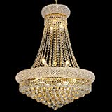 BEIRIO 13-Lights Golden Finish Classic Empire Style K9 Crystal Chandelier Ceiling Light for Living Room Foyer Dining Room Hallway Bedroom (24×31.5 inch) New Packaging Easy to Install