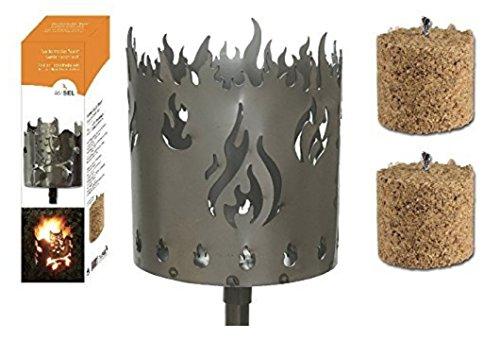 Gartenfackel auf Stecker \'Feuer\', aus Metall, Höhe: 128 cm , Ø 15cm, INKL. 2 Holzbrennelementen Garten Sommer Fackel Windlicht