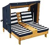 KidKraft- Tumbona de jardín doble para niños, de madera, con posavasos , Color Azul marino y...