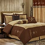 Chezmoi Collection 7 Pieces Western Star Embroidery Design Microsuede Bedding Oversized Comforter Set (Queen 92' x 96', Brown/Coffee)