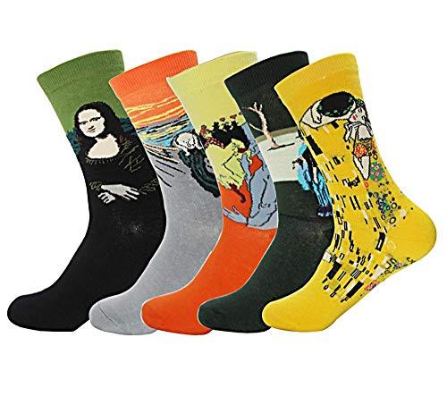 TIGERROSA Calzini Da Donna 5 Paia Di Calze Di Cotone Retr Da Donna Van Gogh Murale Di Fama Mondiale Olio Rinascimentale Arte Pittura Serie Modello Calzino Divertente Calzino Colore Della Miscela