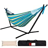 Lazy Daze Double Cotton Hammock with Space Saving Steel Stand Includes Portable Carrying Bag and Head Pillow Brazilian-Style Hammock for Indoor Outdoor Patio 450 lbs Capacity, Oasis Stripe