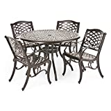 Christopher Knight Home Hallandale Outdoor Cast Aluminum Dining Set for Patio or Deck, 5-Pcs Set, Black