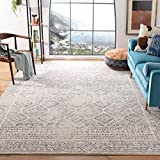 Safavieh Tulum Collection TUL264A Moroccan Boho Distressed Non-Shedding Stain Resistant Living Room Bedroom Area Rug, 5'3' x 7'6', Ivory / Grey