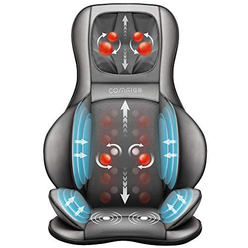 Comfier Shiatsu Luftkompression Massagesitzauflage mit Knet-, Rollen- und Vibrationsmassage, 3D Rücken Massagegeräte mit Wärme, für verstellbare Nacken-, Schulter-, Rücken- und Oberschenkelmassage