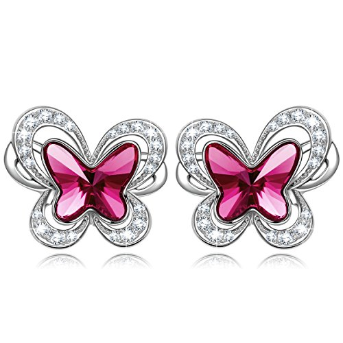 Kate Lynn Mother's Day Earrings Gifts for Mom Earrings for Women Jewelry Gift Women Purple Crystals Butterfly Hypoallergenic Stud Earrings Valentine for Her Gifts for Girl